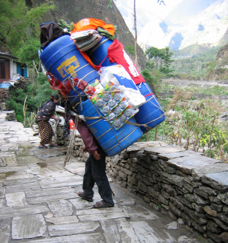 Sherpa Porter Walking Carrying Heavy Load